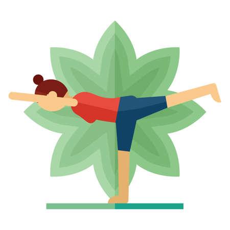half moon: woman practicing yoga in half moon pose