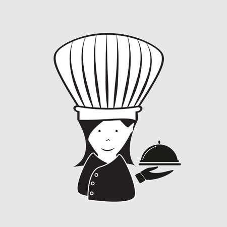serving dish: chef holding serving dish Illustration