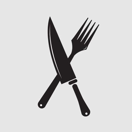 Silhouette di coltello e forchetta Archivio Fotografico - 53257375