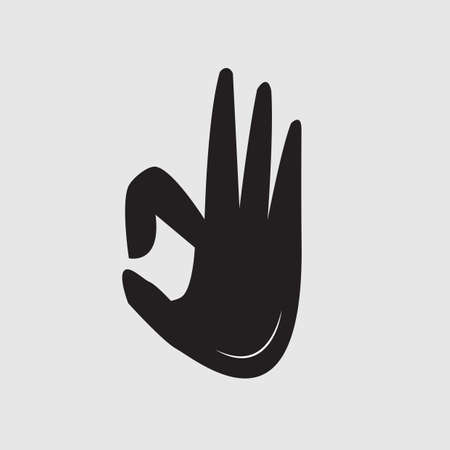 alright: silhouette of hand with okay sign Illustration