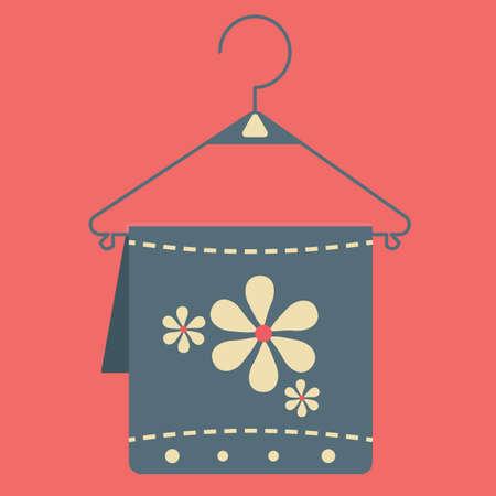 towel: towel on hanger Illustration