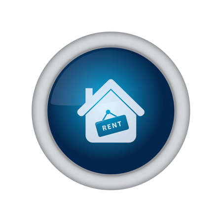 rent: home button with rent sign board