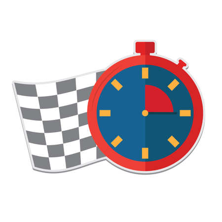 finishing checkered flag: stopwatch with checkered flag