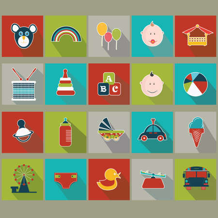 see saw: collection of kids icons Illustration