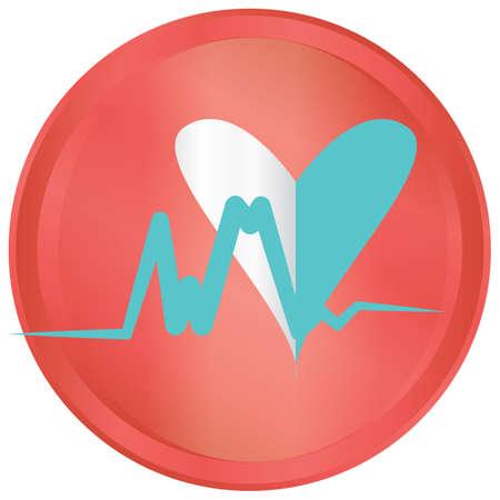 Herz mit Sinuswelle Standard-Bild - 81469530