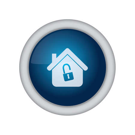 unlock: home button with unlock sign Illustration