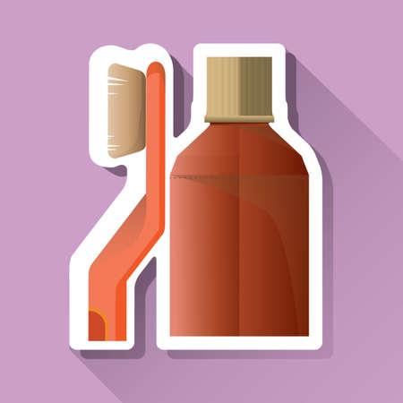 mouthwash: cepillo de dientes y enjuague bucal etiqueta