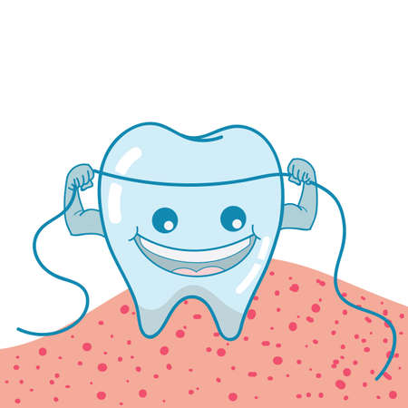 floss: tooth with floss Illustration