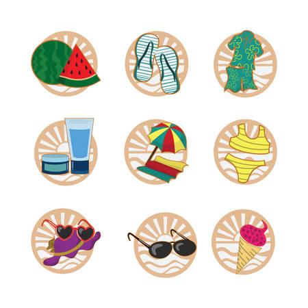 beachwear: set of beach icons