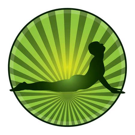 bhujangasana: woman practicing yoga Illustration