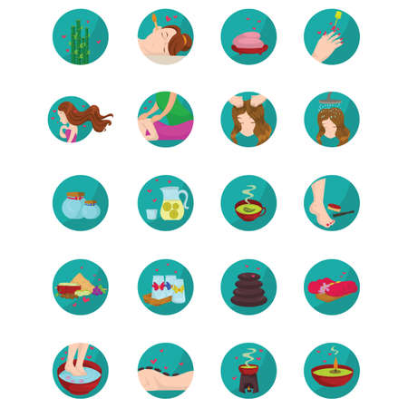 massage herbal: set of spa icons