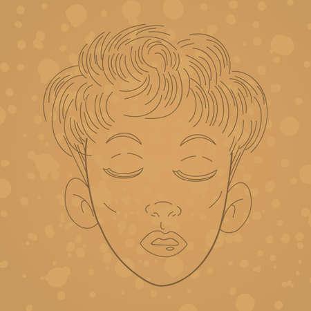 girl short hair: girls hairstyle Illustration