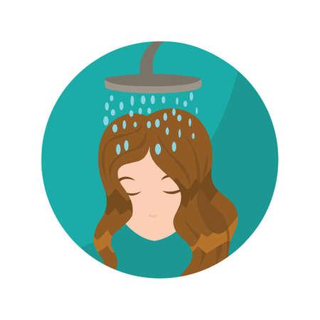 taking shower: woman taking shower