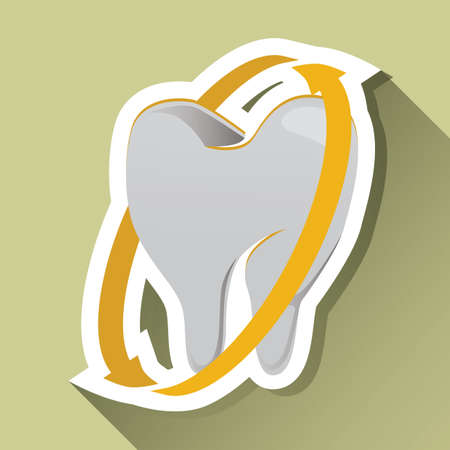 surrounded: tooth surrounded by arrow label