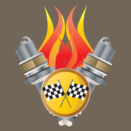 spark plug: spark plug with flames