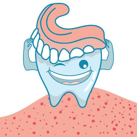 false teeth: tooth holding false teeth Illustration