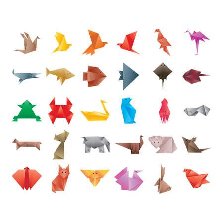calamar: colección de animales de origami Vectores