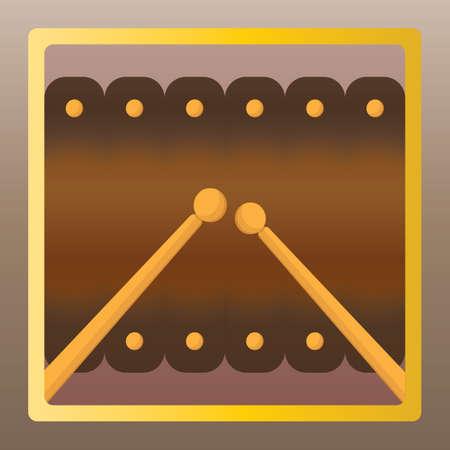 xilofono: xilófono y palillo Vectores
