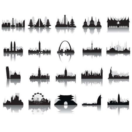 elizabeth tower: silhouettes of famous monuments Illustration