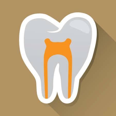 nerves: tooth with nerves label Illustration