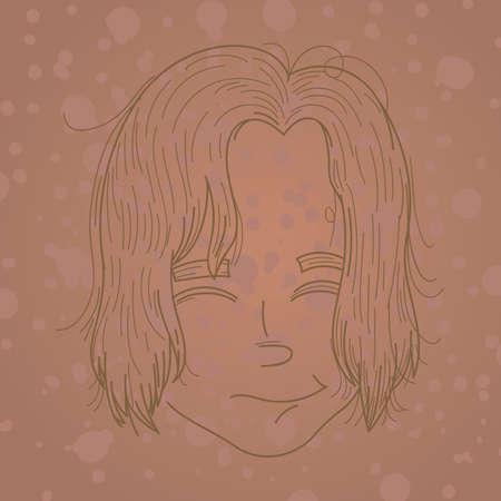 boy long hair: boys hairstyle Illustration