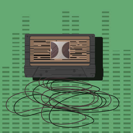 stretched: audio cassette with stretched tape