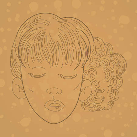 tied girl: girls hairstyle Illustration