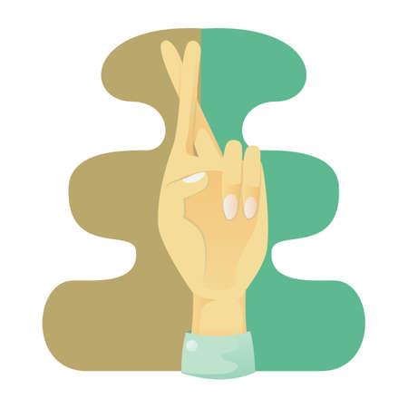 de hand tonen gekruiste vingers