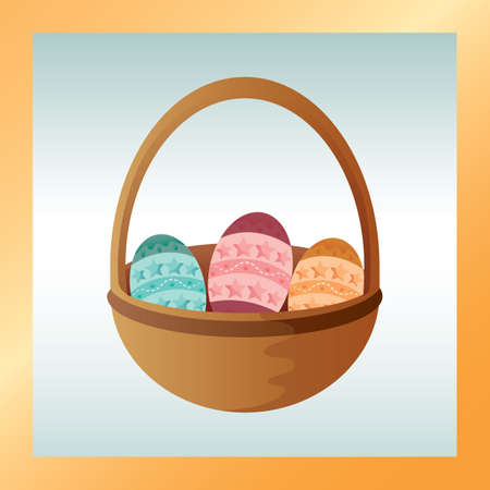 holiday celebrations: easter eggs in basket Illustration