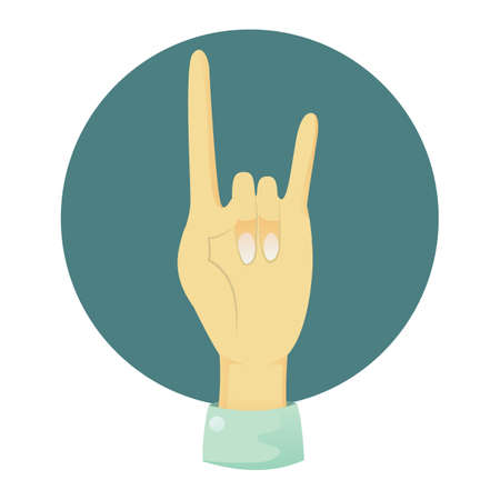 nonverbal: hand showing rock sign Illustration