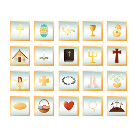 cross hatching: set of easter icons Illustration