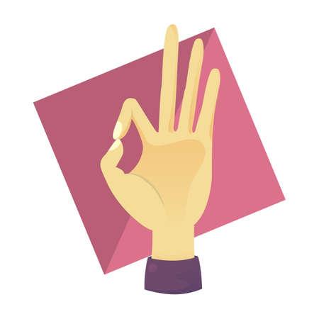 comunicacion no verbal: gesto de la mano aceptable de la muestra