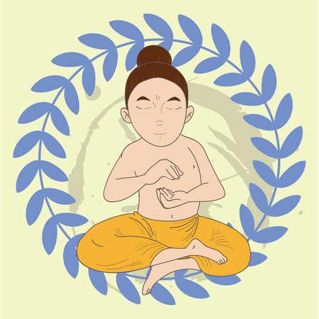 ardha: man doing half lotus pose