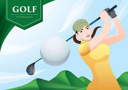 playing golf: woman playing golf
