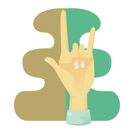 nonverbal: hand showing rock and roll sign