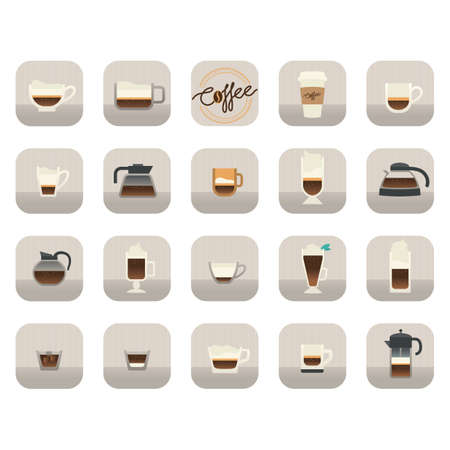 cold coffee: coffee icons collection
