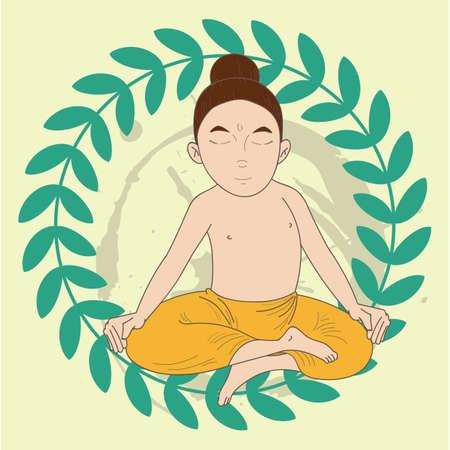 lotus pose: man doing half lotus pose