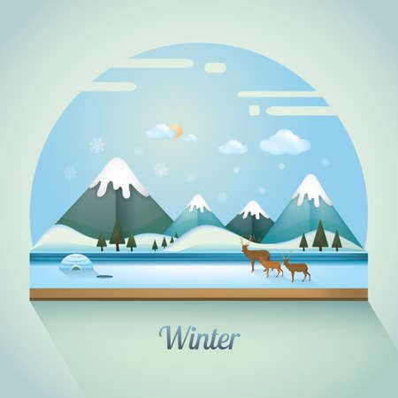 snow cap: winter landscape Illustration