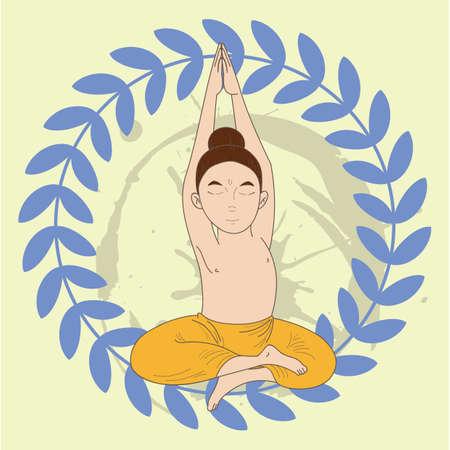 half: man doing half lotus pose
