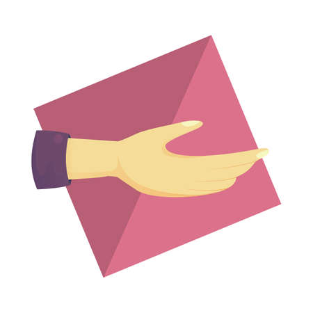 nonverbal communication: open palm hand gesture Illustration