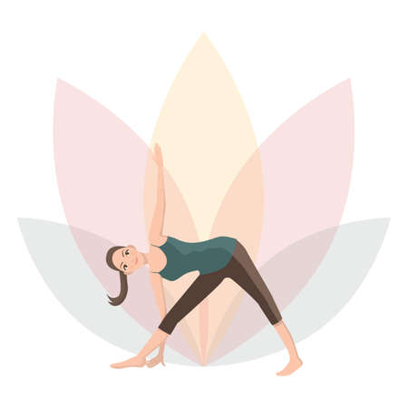revolved: woman practising yoga in revolved triangle yoga pose Illustration