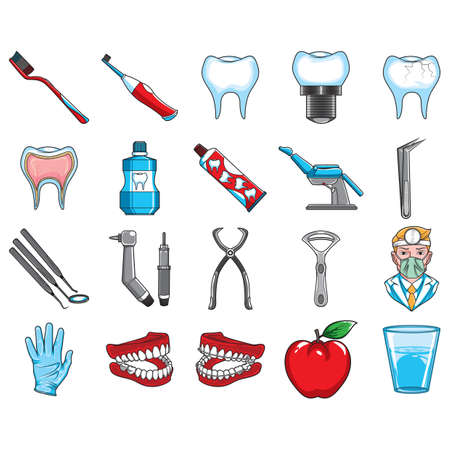 tongue cleaner: set of dental icons Illustration