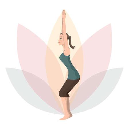 awkward: woman practising yoga in awkward pose Illustration