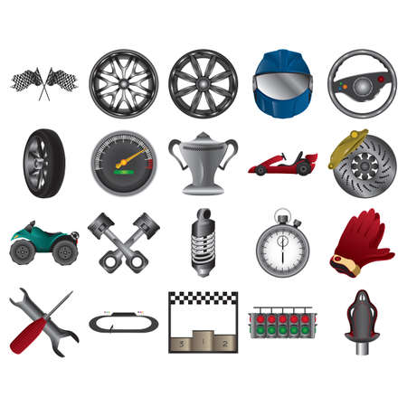 racer flag: set of race icons Illustration