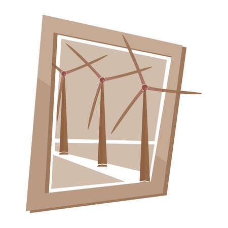 mills: wind mills wall frame Illustration