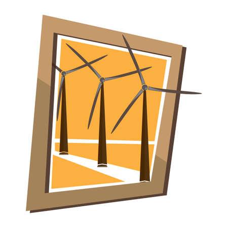 wind mill: wind mill wall frame Illustration