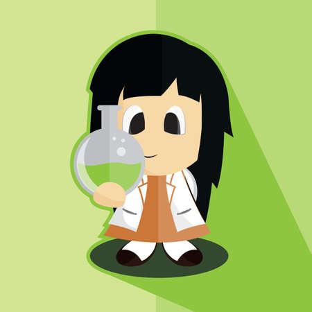 an analyst: scientist girl Illustration