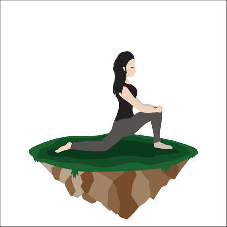 warrior pose: woman practicing yoga in warrior 2 pose Illustration