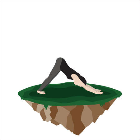 stretch: woman practicing yoga in dog stretch Illustration