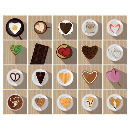 heart shaped: set of heart shaped food